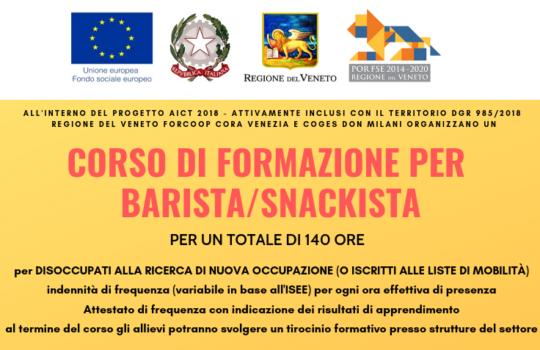 In partenza il Corso per BARISTA/SNACKISTA di 140 ore finanziato dalla Regione del Veneto